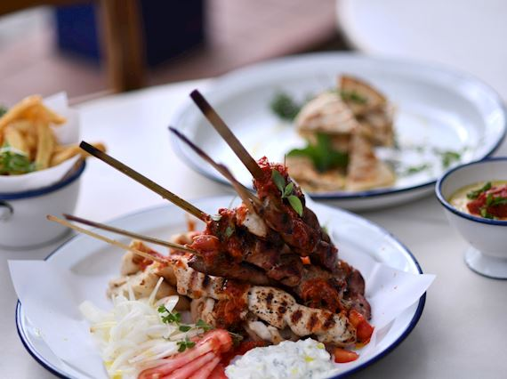 Traditional Greek Souvlaki Dish at Souvlakerie